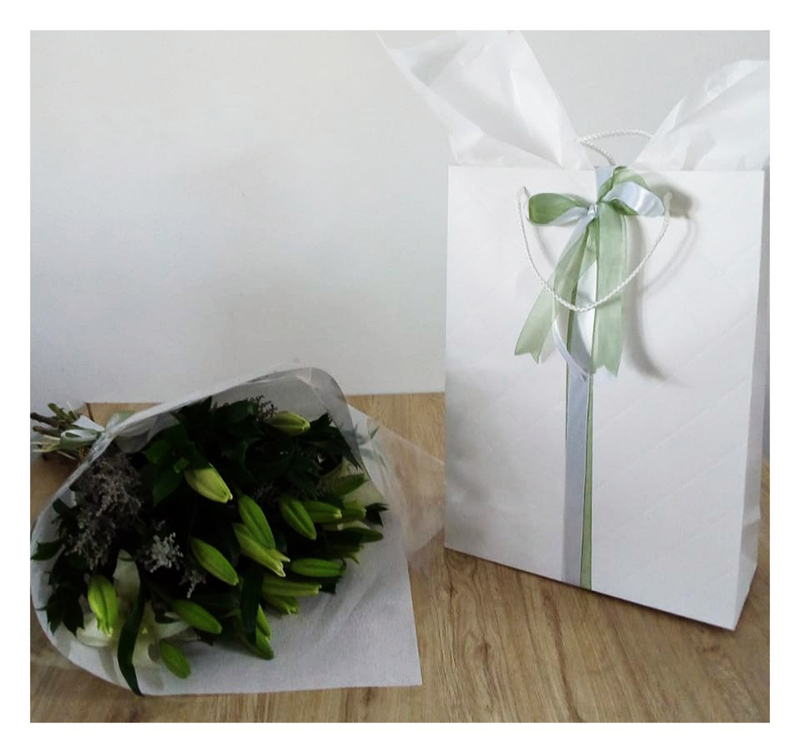 BUNCH OF LILLIES GIFT BAG WITH CHOCOLATES MATCHING WRAPPING