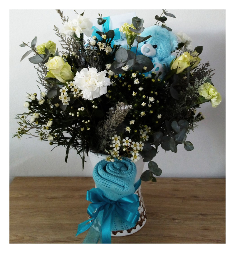 BLUE BLANKET, TEDDY AND FLOWERS – NEW BORN BABY BOY