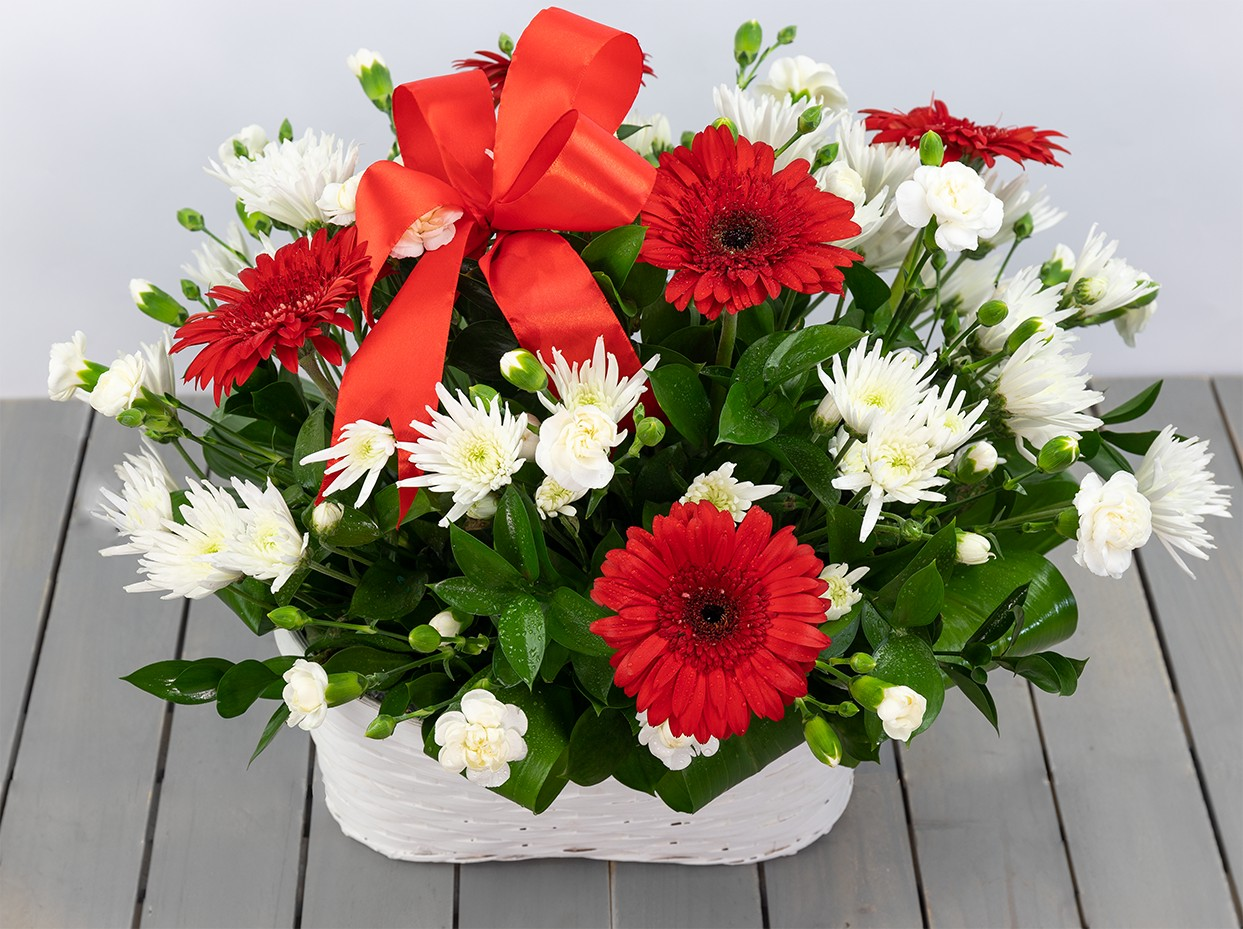 White And Red Basket Arrangement