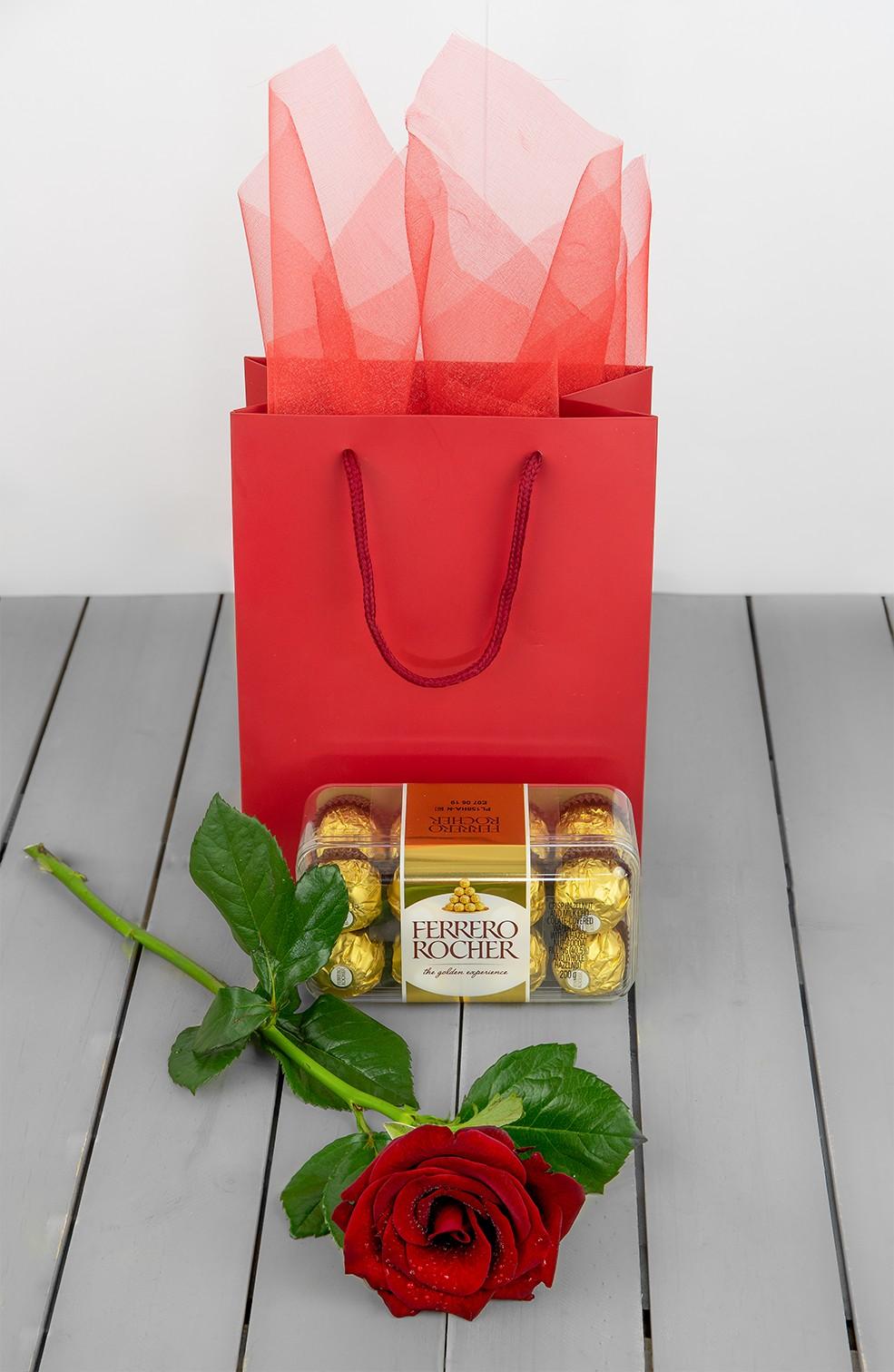 Ferrero Rocher Chocolate And Gift Bag Plus Rose