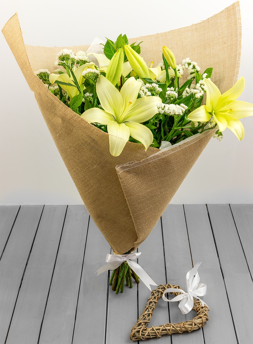 Hessian White Lily Bouquet