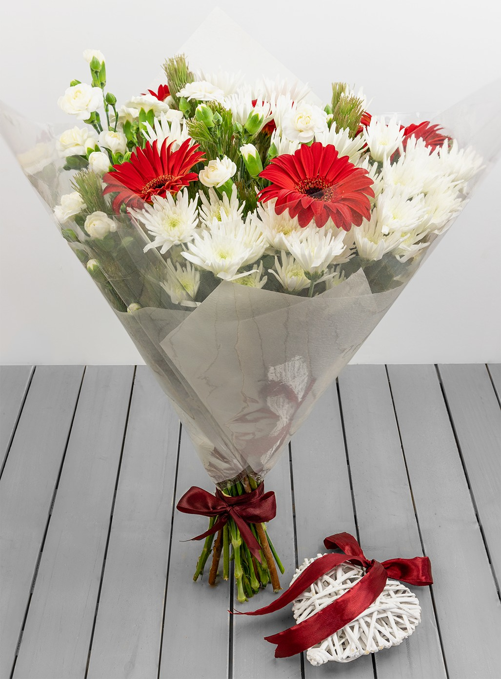 Red And White Bouquet With Heart