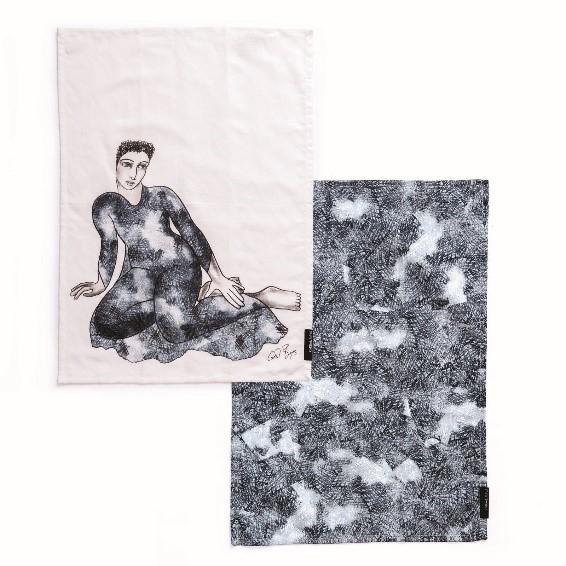 TEA TOWEL SET 2 – COMPELLING-BL/W