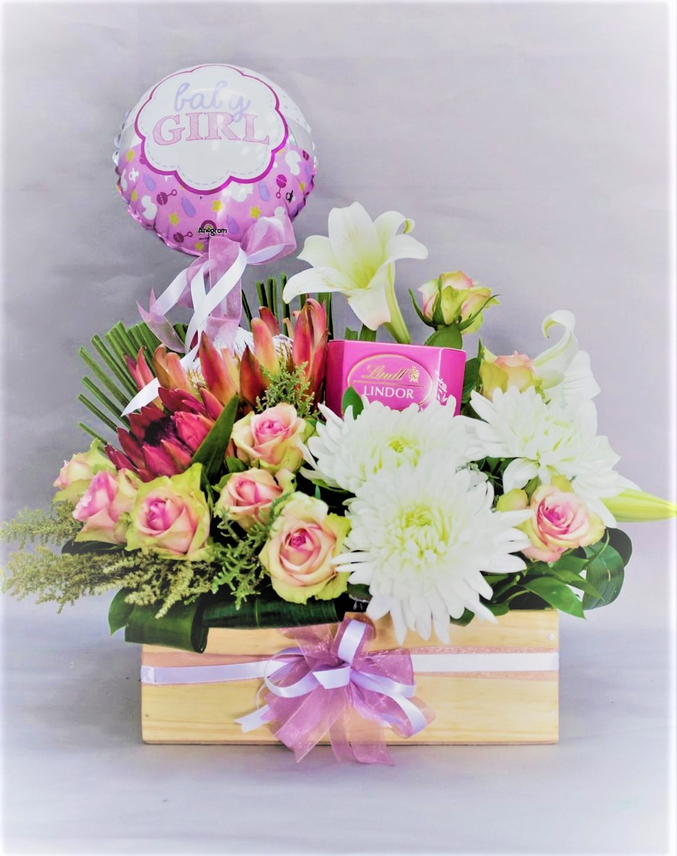 Wooden Container, Strawberry Lindt Chocolates, Balloon And Flowers